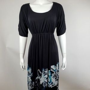 Soma Black Blue Floral Dress Size Small